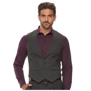 Marc Anthony Gray & Black Slim Fit Lapel Vest
